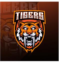 tiger head esport mascot logo design vector image