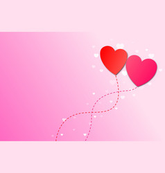 two heart balloon with copy space for valentines vector image