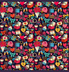 valentines day seamless background with sketches vector image