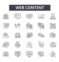 web content line icons signs set linear vector image