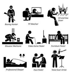 Weird unusual odd job - bounty hunter tv watcher vector
