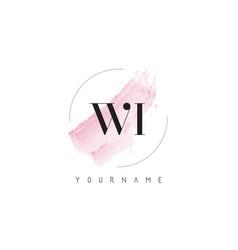 Wi w i watercolor letter logo design vector