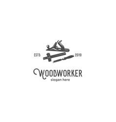 wood worker silhouette vintage logo vector image