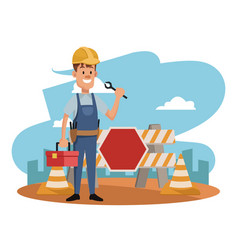Worker at construction zone vector