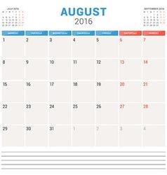 Calendar planner 2016 flat design template august vector
