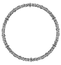 round musical notes frame vector image
