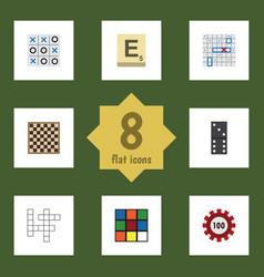 flat icon entertainment set of guess mahjong vector image