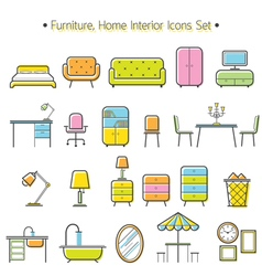 Furniture Line Icons Colorful Set vector image