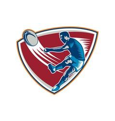 Rugby Player Kicking Ball Shield Woodcut vector image vector image