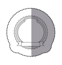 Contour round emblem with ribbon icon vector