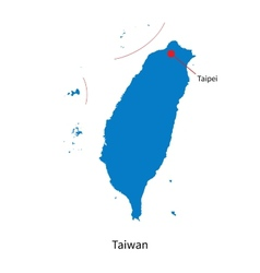 Detailed map of Taiwan and capital city Taipei vector image vector image