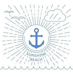 Summer beach made with outline lines vector image