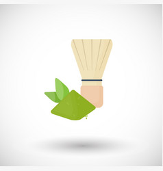 whisk for matcha tea powder flat icon vector image