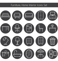 Furniture Line Icons Set vector image vector image