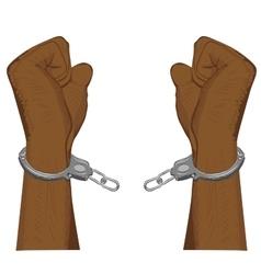 Male hands breaking steel handcuffs vector image