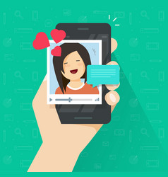video call with girlfriend on mobile phone vector image