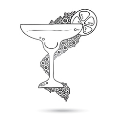 Wine Glass On The Doodle Circular Pattern Isolated vector image