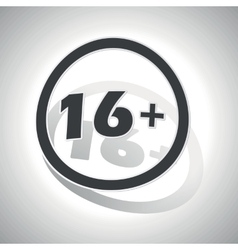 16 plus sign sticker curved vector