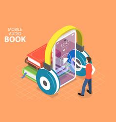 3d isometric flat concept mobile audio vector image
