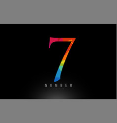7 number rainbow colored logo company icon design vector