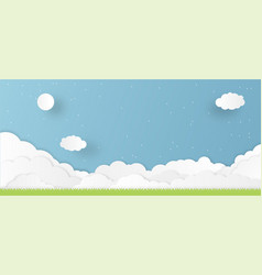 a lot cloud paper cutting mostly cloudy with vector image