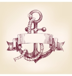 anchor with a banner hand drawn llustration vector image vector image