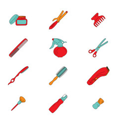 Barber tools icons set vector