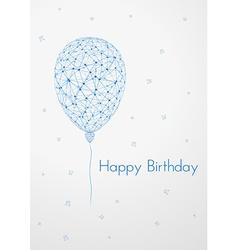 Birthday card with linear balloon vector