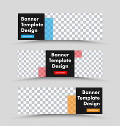 black horizontal web banner template with place vector image