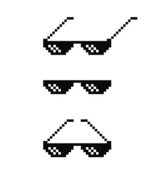 black pixel art glasses set meme sunglasses vector image