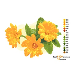Bouquet with calendula The scheme for beadwork or vector image