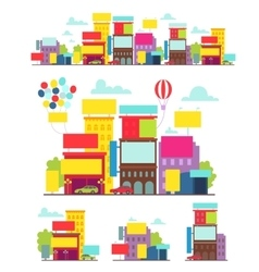 Bright street with posters billboards vector