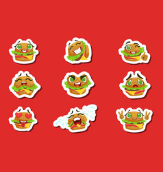 Burger cute emoji stickers set vector