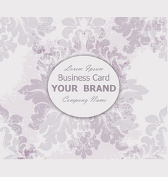 business card with vintage baroque element vector image