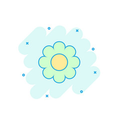 cartoon chamomile flower icon in comic style vector image