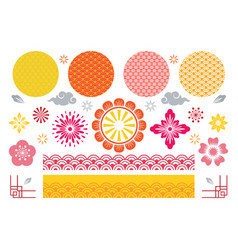 chinese and japanese traditional design elements vector image