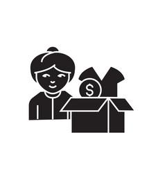 Clothes donation black concept icon vector