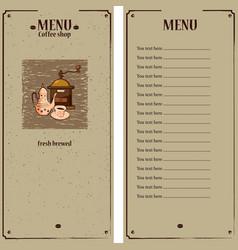 Coffee menu template with coffee grinder coffee vector