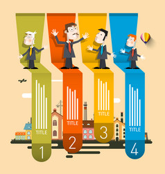 company profile infographic four steps retro vector image