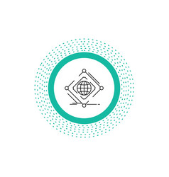 Complex global internet net web line icon isolated vector