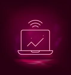 computer analytics smart neon icon vector image