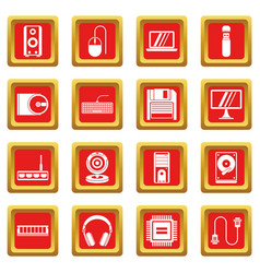 computer icons set red vector image