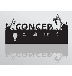 Construction site crane building concept text vector