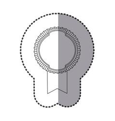 Contour emblem with ribbon icon vector