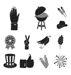 Day of patriot holiday black icons in set vector