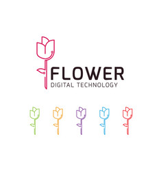 Digital flower technology logo vector