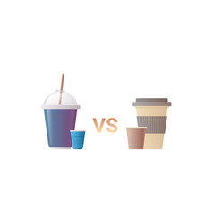 disposable plastic vs paper cups for beverage zero vector image