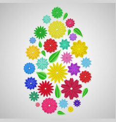 easter egg of paper flowers vector image