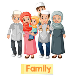 Educational english word card muslim family vector