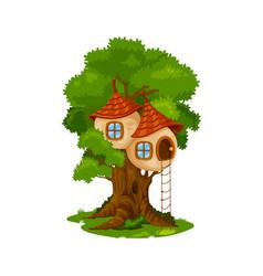 Fairy house or elf cartoon dwelling on oak tree vector